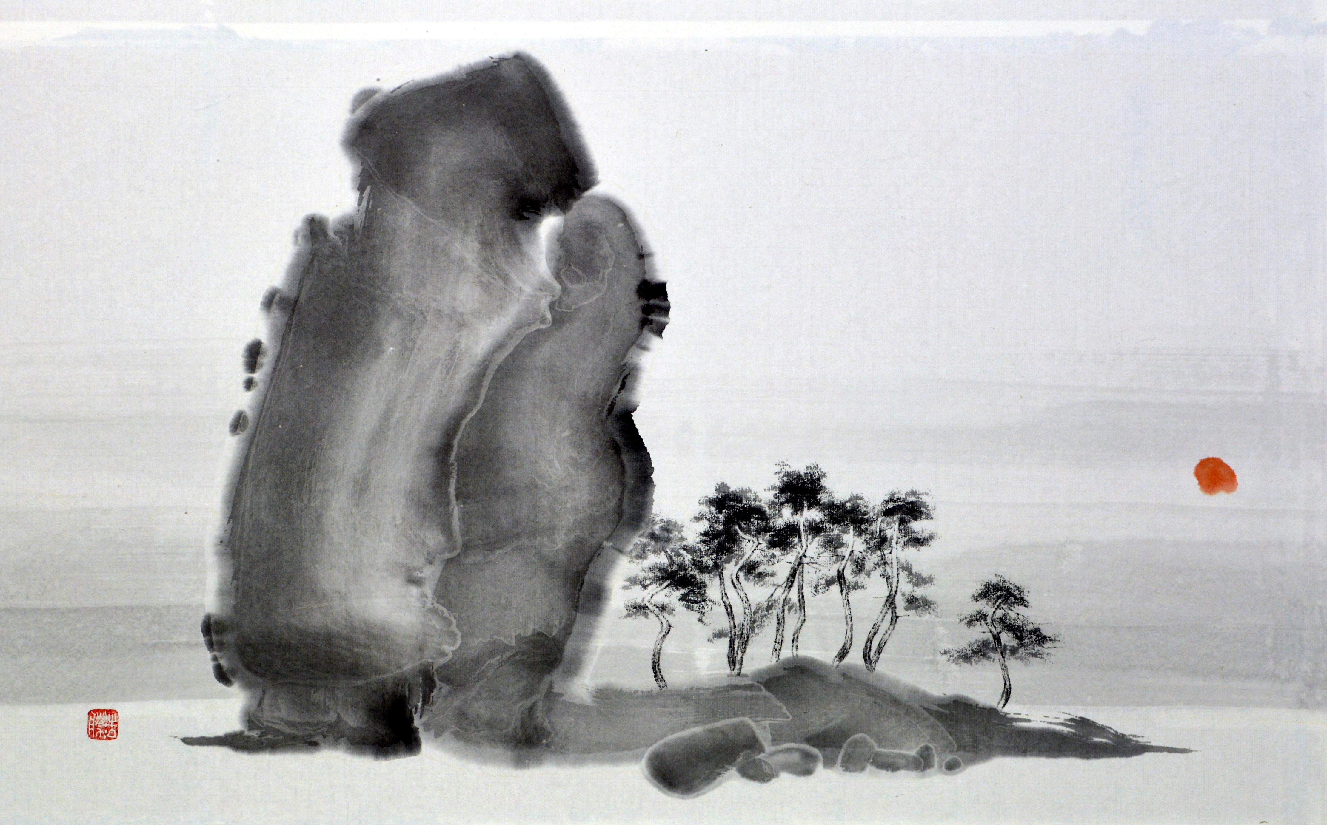 송승호 1 낙조가 아름다운 곳 , 40x65cm, 화선지에 먹, 2017