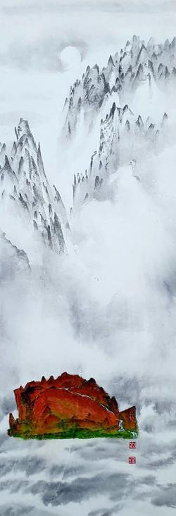 004, 김성호, 천산2, 23 x 69 cm, 화선지에 수묵채색, 20