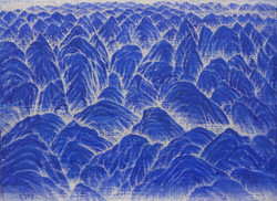 이경성003, 산을 오르며,  45.5 x 33.4cm, 캔버스위에 스크레치기법, 2017년