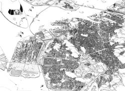 006, 안충기, 비행산수-인천, 76 x 56 cm, 종이에 먹펜 피그