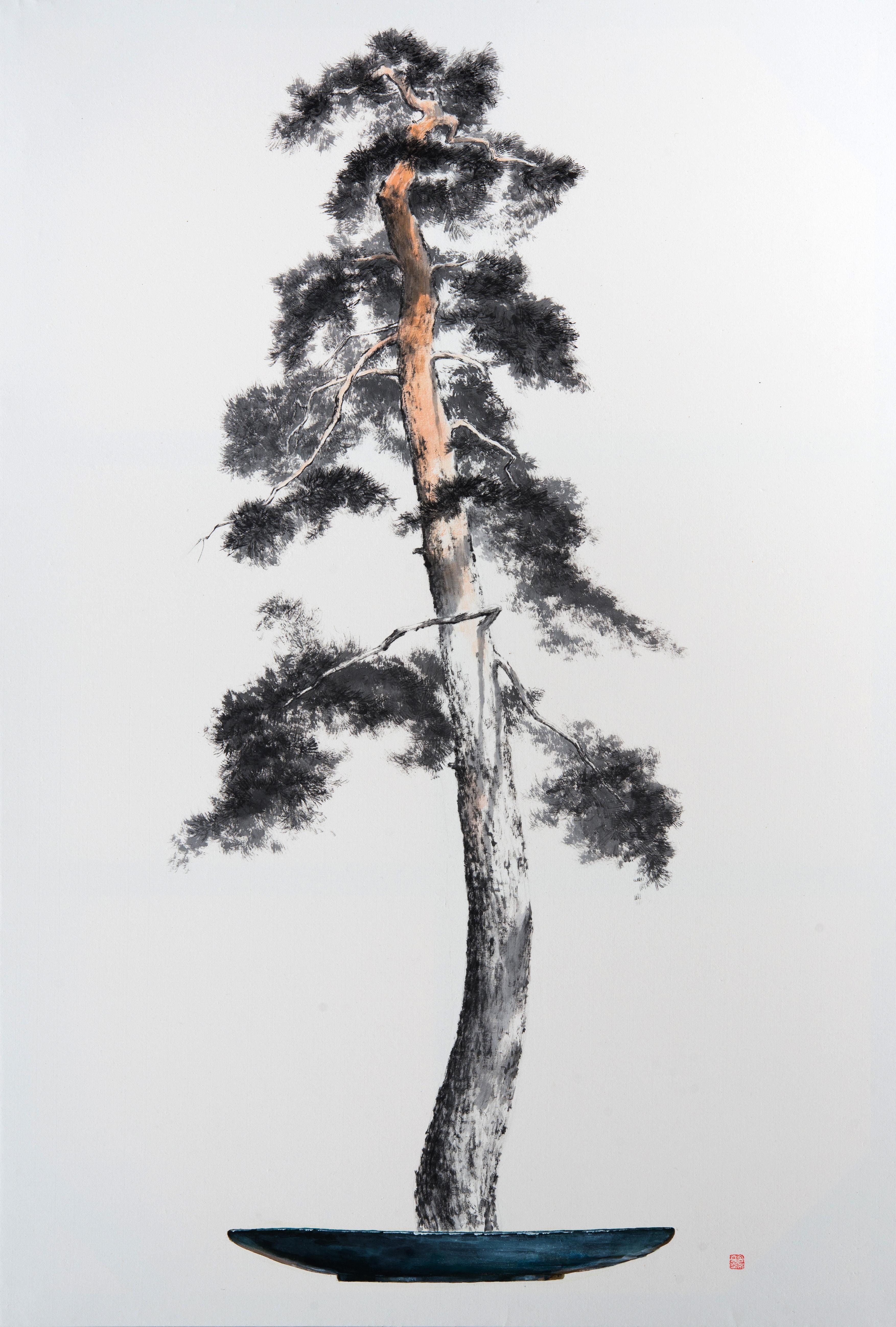 송승호_송뢰-초근목피, 117x80.2cm,화선지에 먹 아크릴,2015