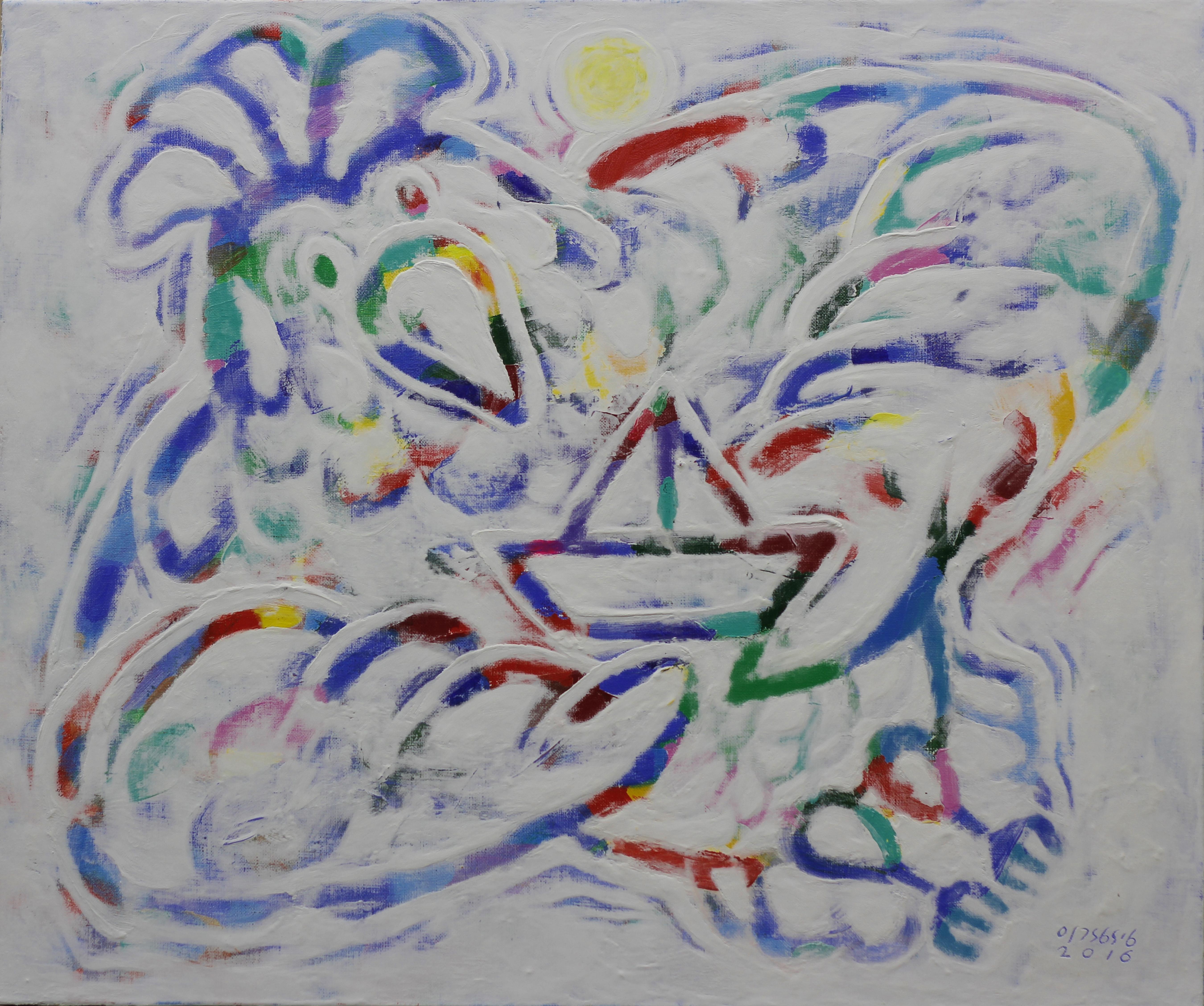 이경성, thorn tree-with you, 73x61cm, 캔버스 위에 소멸침식기법, 2016