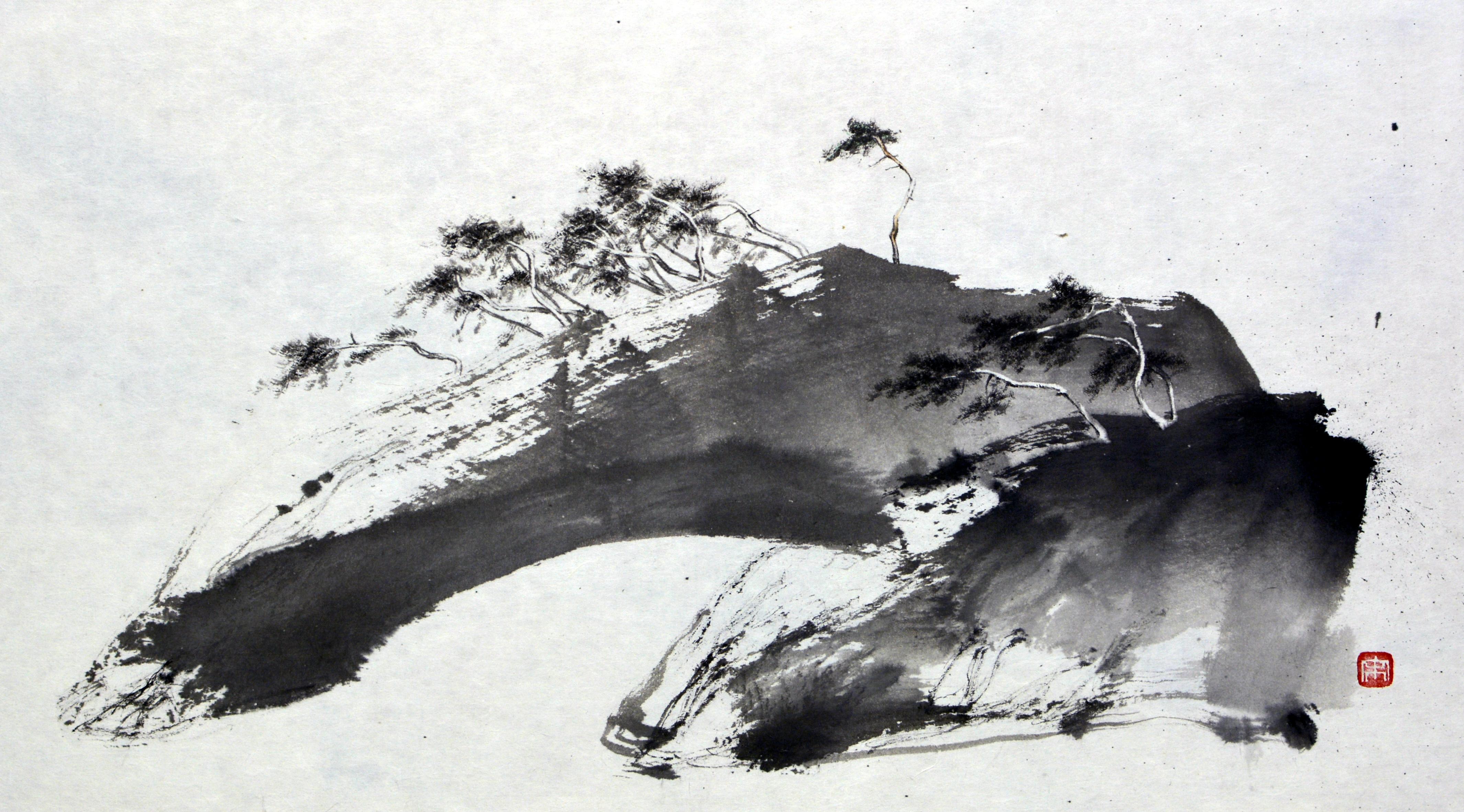 송승호005,가끔은 동쪽에서 바람이 분다, 62x34cm, 한지에 수묵 담채, 2017