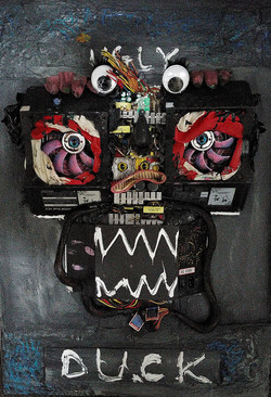 ugly duckling 25, 59.5cm x 84.5cm, Power supply, plastic, acrylic, oil, cement, epoxy, silicon on wo