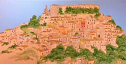 시칠리_두오모가 보이는 언덕, 50x100cm, 한지에 흙 아크릴, 20