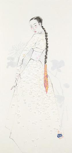 12. 베갯송사, 72.5x34.5cm, 한지위에 채색 & 콜라주, 2018