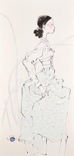 11. 베갯송사, 72.5x34.5cm, 한지위에 채색 & 콜라주, 2018