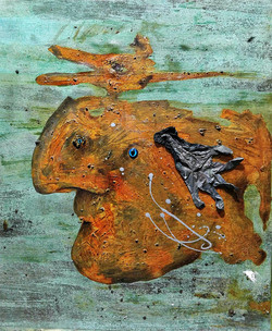 ugly duckling 2,  72.7cm x 60.6cm, Bronze and iron corrosion, latex gloves, Plastic, epoxy on canvas