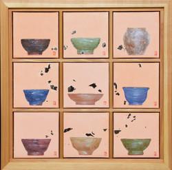 송승호, 차나 한잔 하시게1, 38 x 38 cm, 장지에 혼합재료, 2021, 90만원