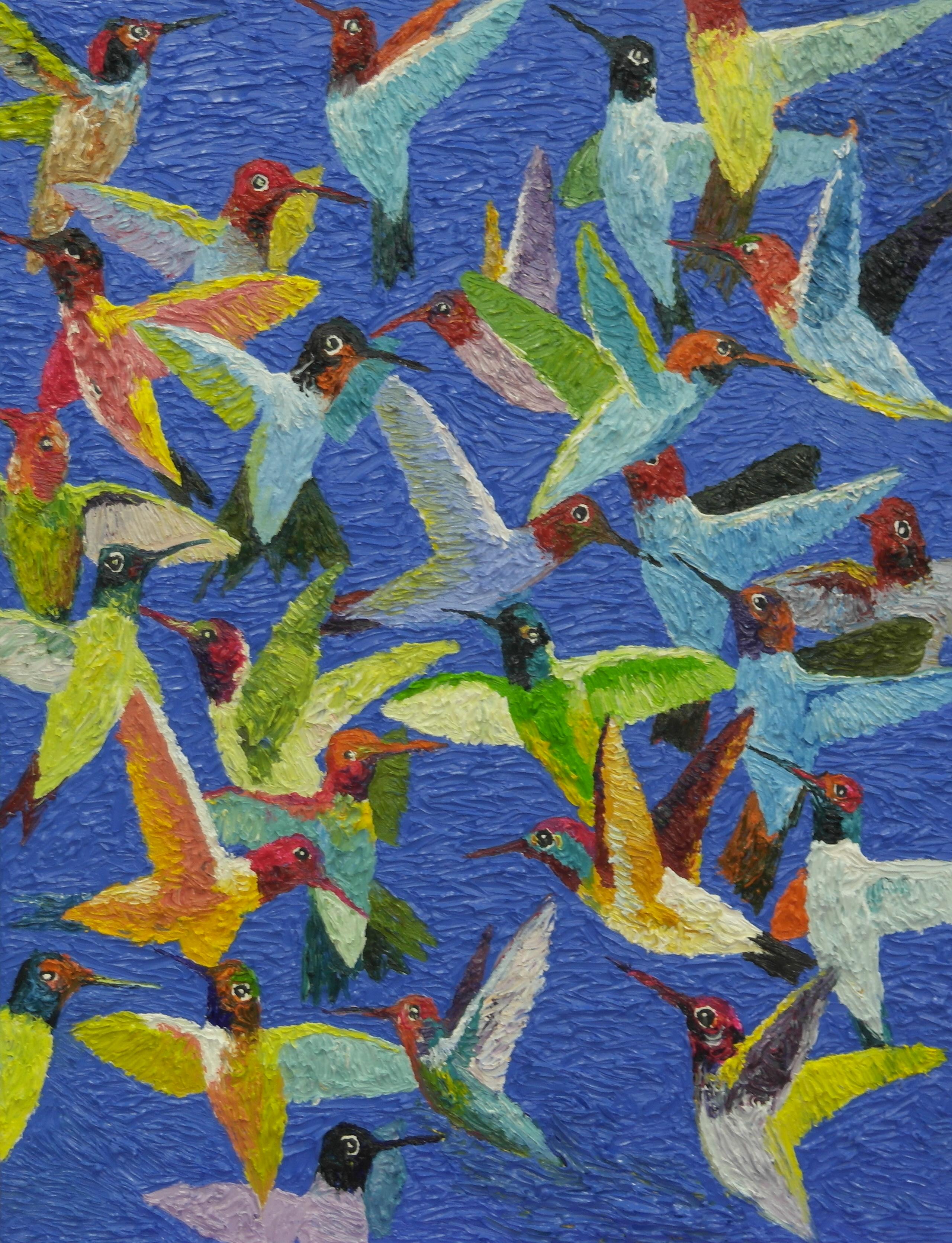 김인1, humminglife1, 50 x 65 cm, oil on ca