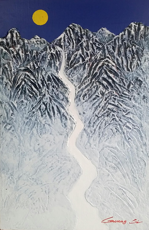 조광기-冬瀑 41cmx27cm 혼합재료 2016