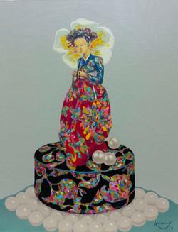황미정004, 고운그녀2, 41x53cm, Acrylic on canvas, 2017