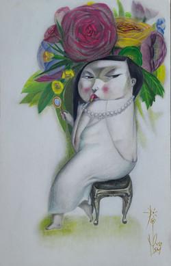문선미2, 그녀의 정원-립스틱, 32 x 50 cm, mixed medi