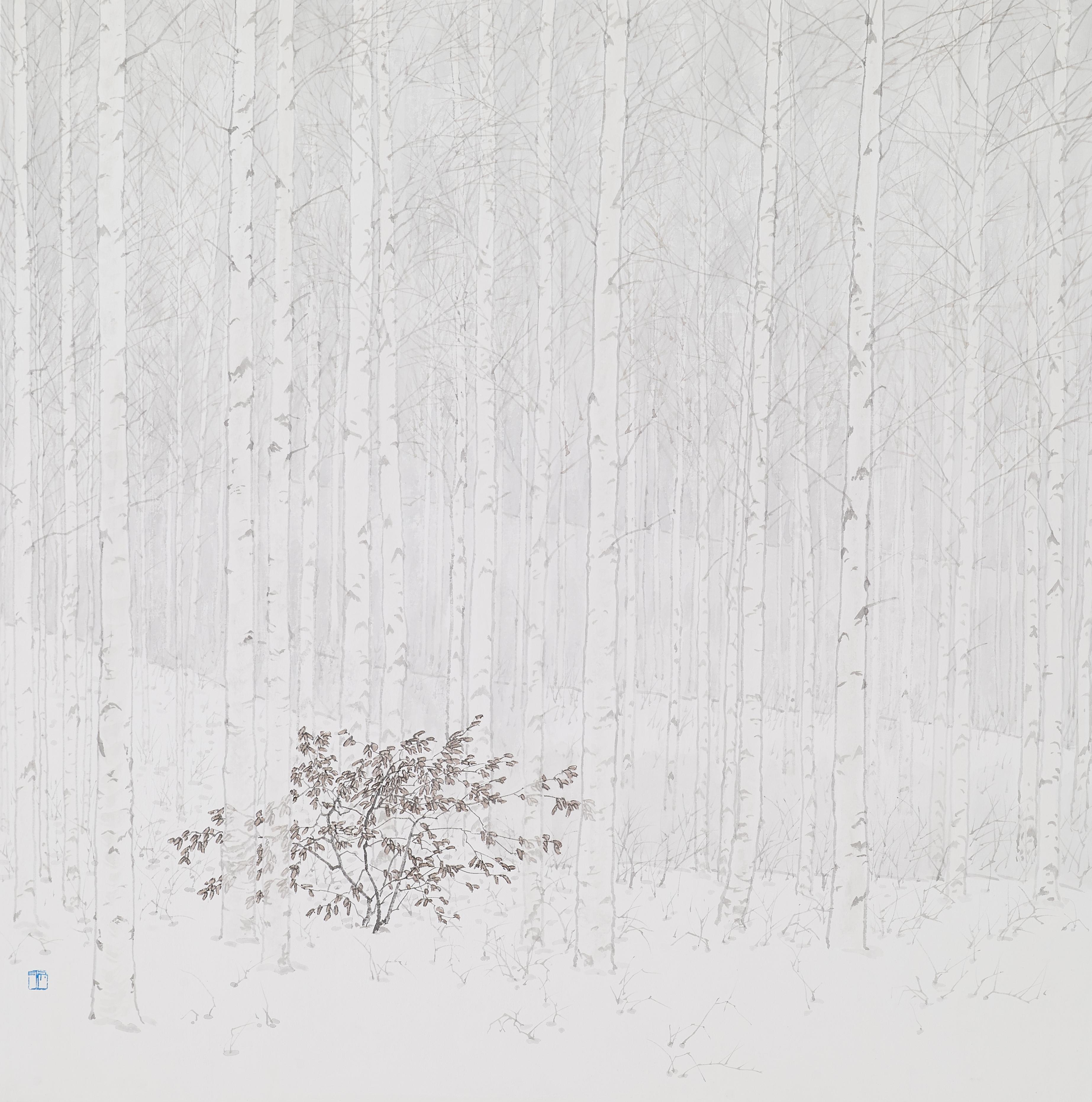 임태규 흐린 풍경-자작나무 아래 80X80 한지 위에 백토 수묵담채 20