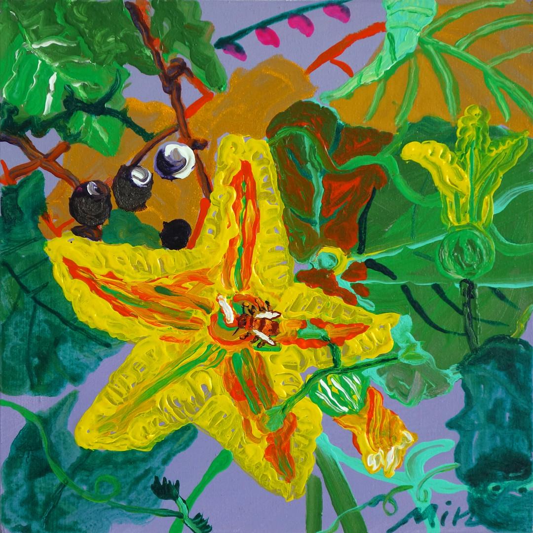 022 민해정수, 포도밭 덩쿨사이 호박꽃, 37.8 x 37.8 cm,