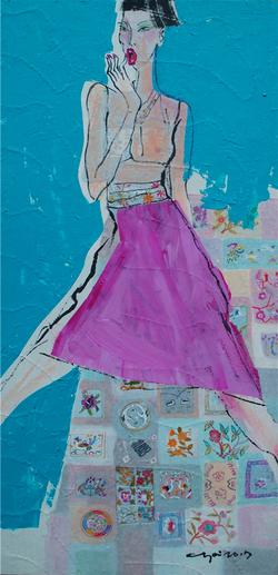 최경자, 베갯송사, 123x95.5cm, 한지위에혼합재료, 2017