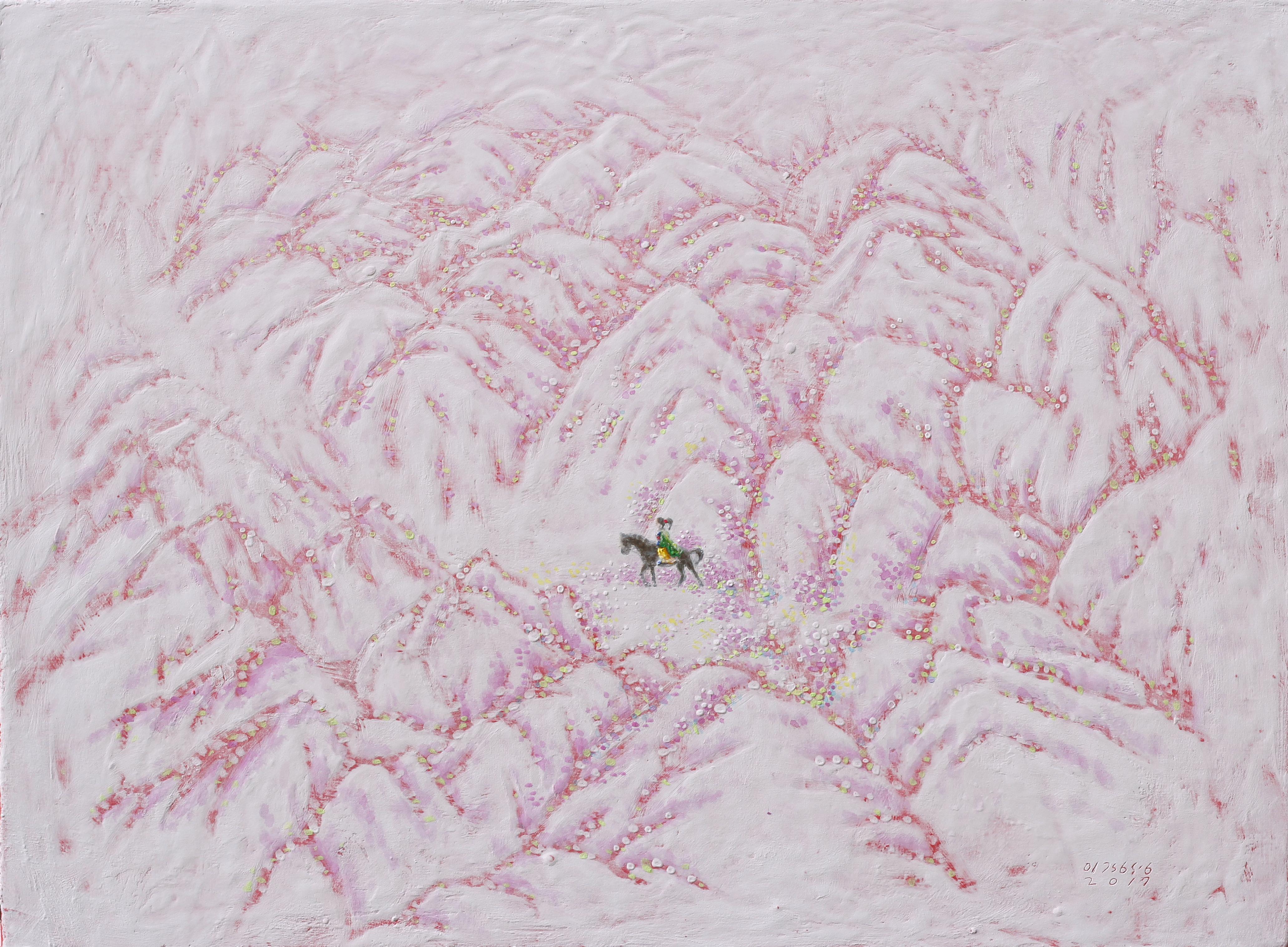 이경성004, 종이부시(終而復始)- 끝난 자리에서 다시 시작하다, 45.5 x 33.4cm, 캔버스 위에 소멸 침식 기법, 2017년