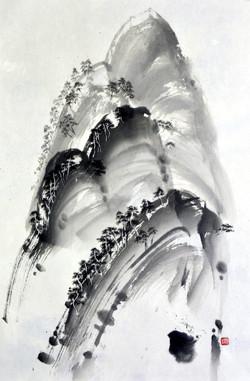 송승호001,남산위에 저소나무, 71x47cm, 한지에 수묵, 2017