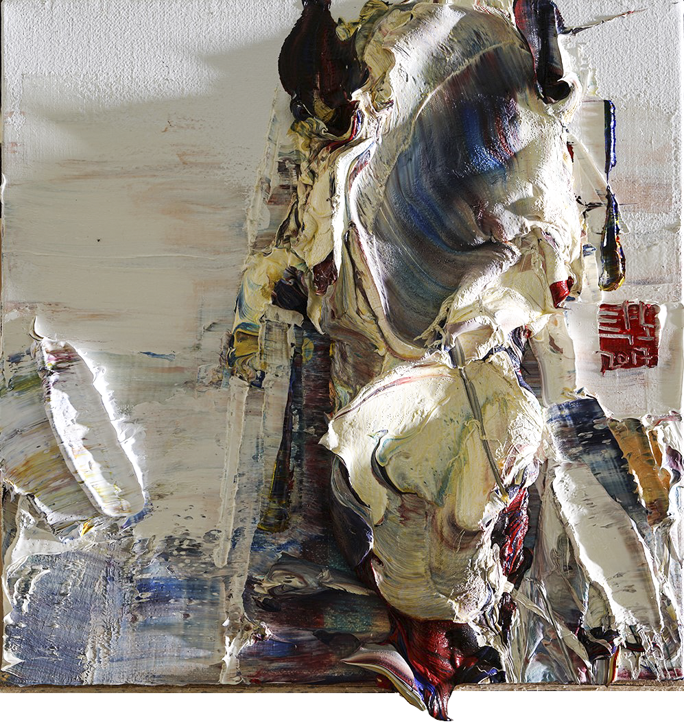 (탁노 1) _ Wild aura 2017 horse 012, 35.0 x 35.0 cm, Oil on canvas, 2017