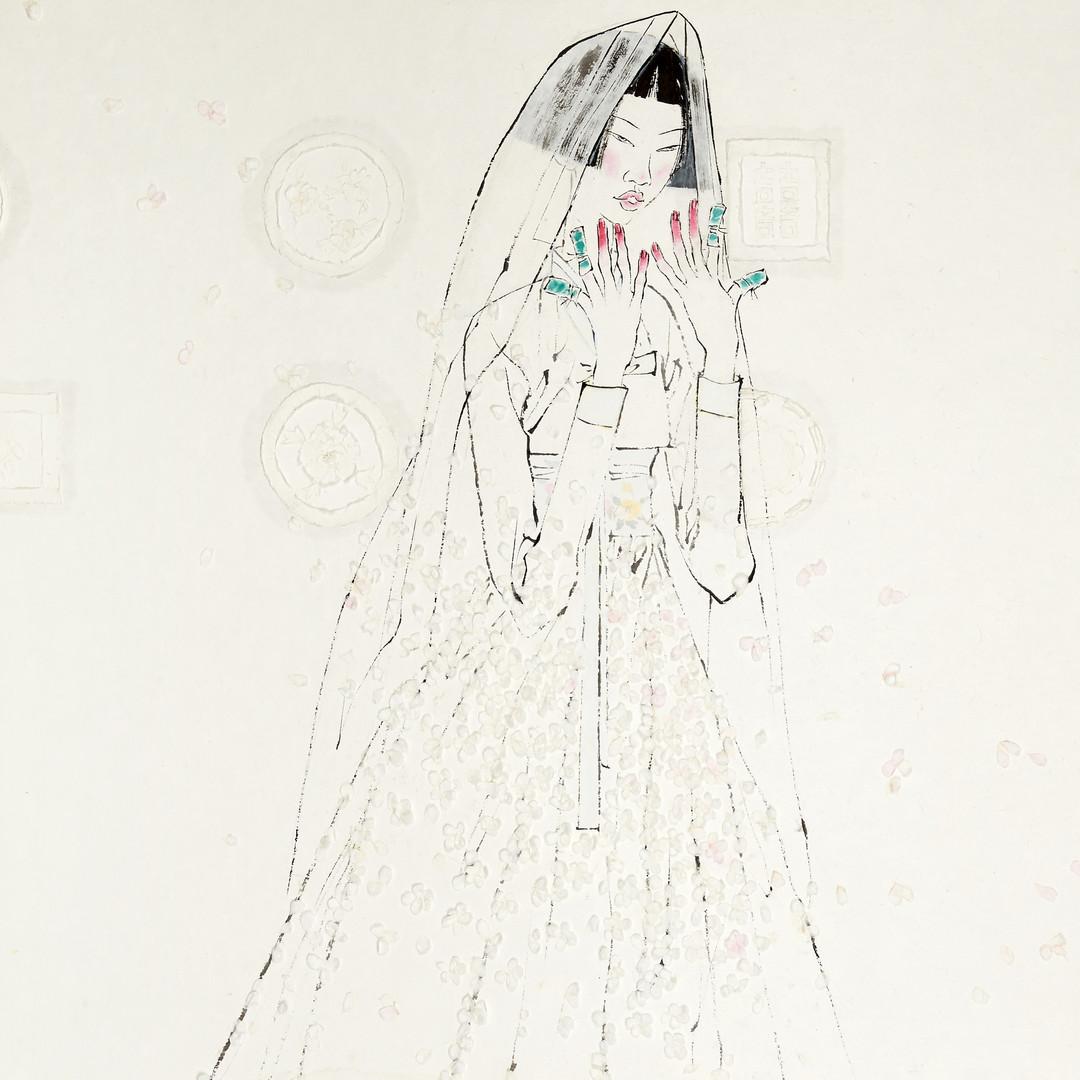 17. 베갯송사, 82.3x122cm, 한지위에 채색 & 콜라주, 201