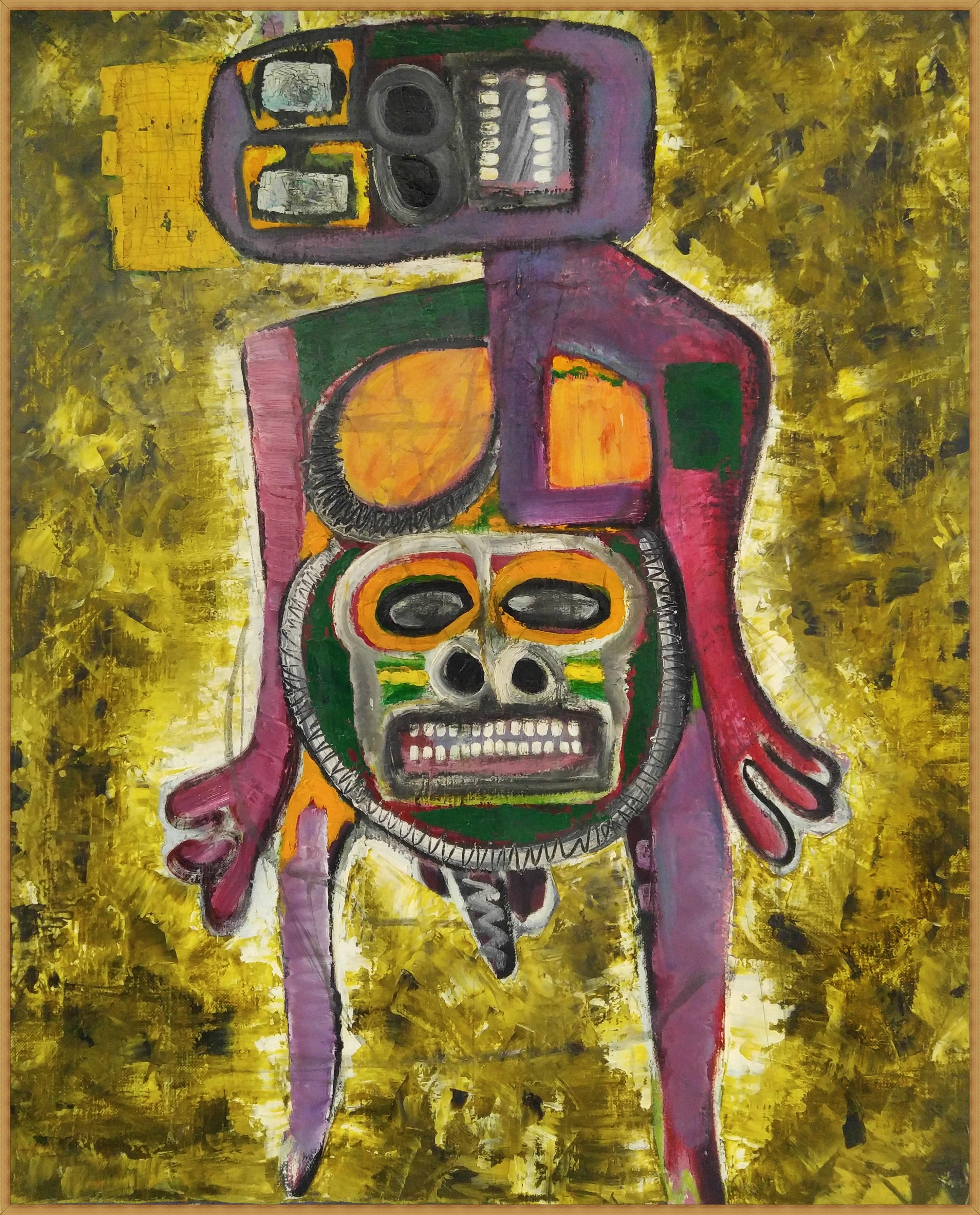 (최우 2) _ comedian.2_ 53cmx65.1cm_gold,oil on Linen,canvas_2008(원목액자)
