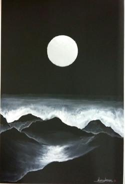신동권,일출_신망애, 60x90cm, 하드보드 위에 수채화, 2017