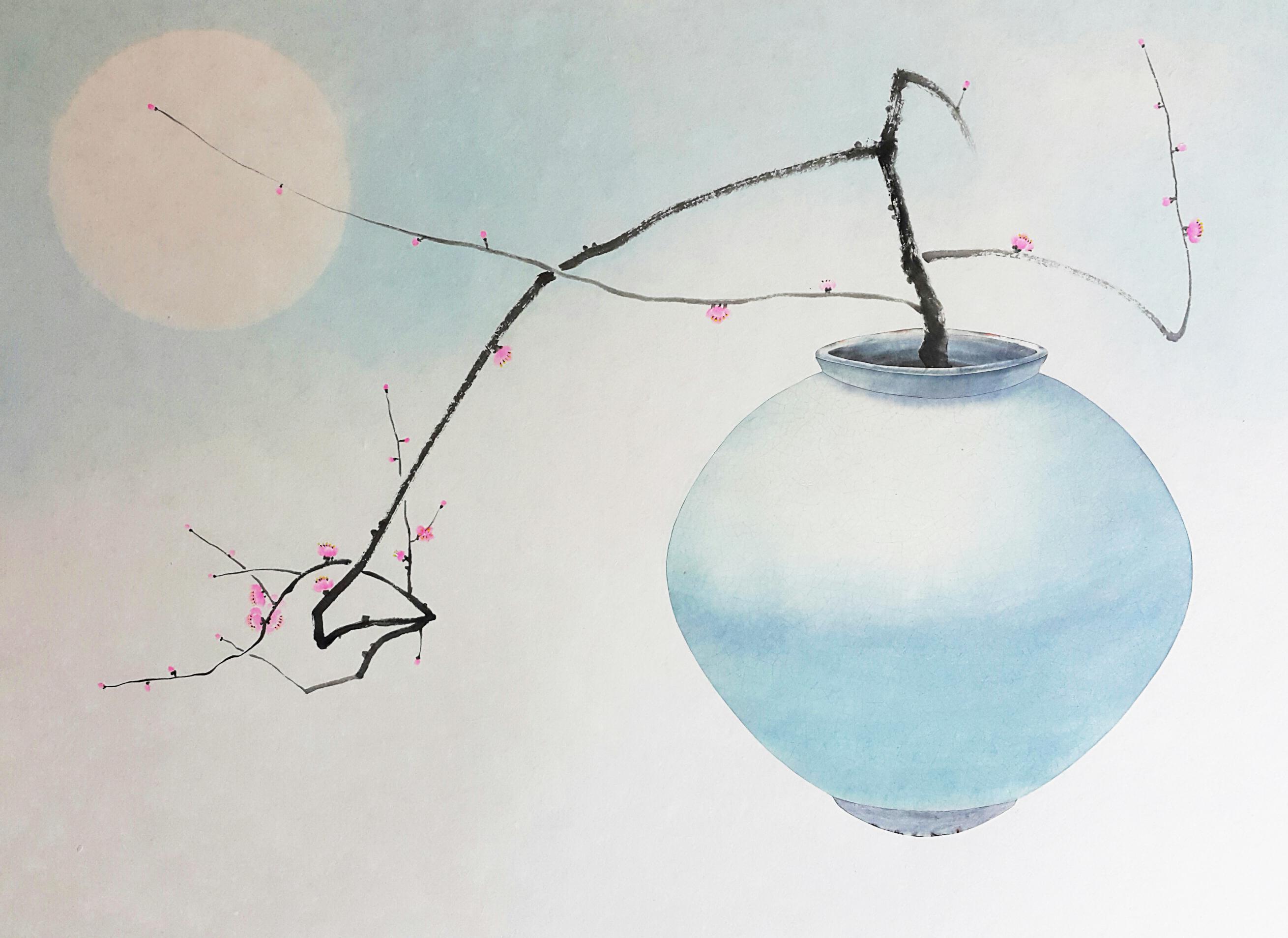 006, 비움과 채움(복을담다), 109 x 79 cm, 한지에 혼합재료