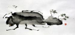 송승호003. 집에가는 길에 돌풍을 만나다, 61x32cm, 한지에 수묵 담채, 2017