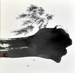 먹구름 타고 솔솔, 20x20cm, 대만지에 수묵, 2017