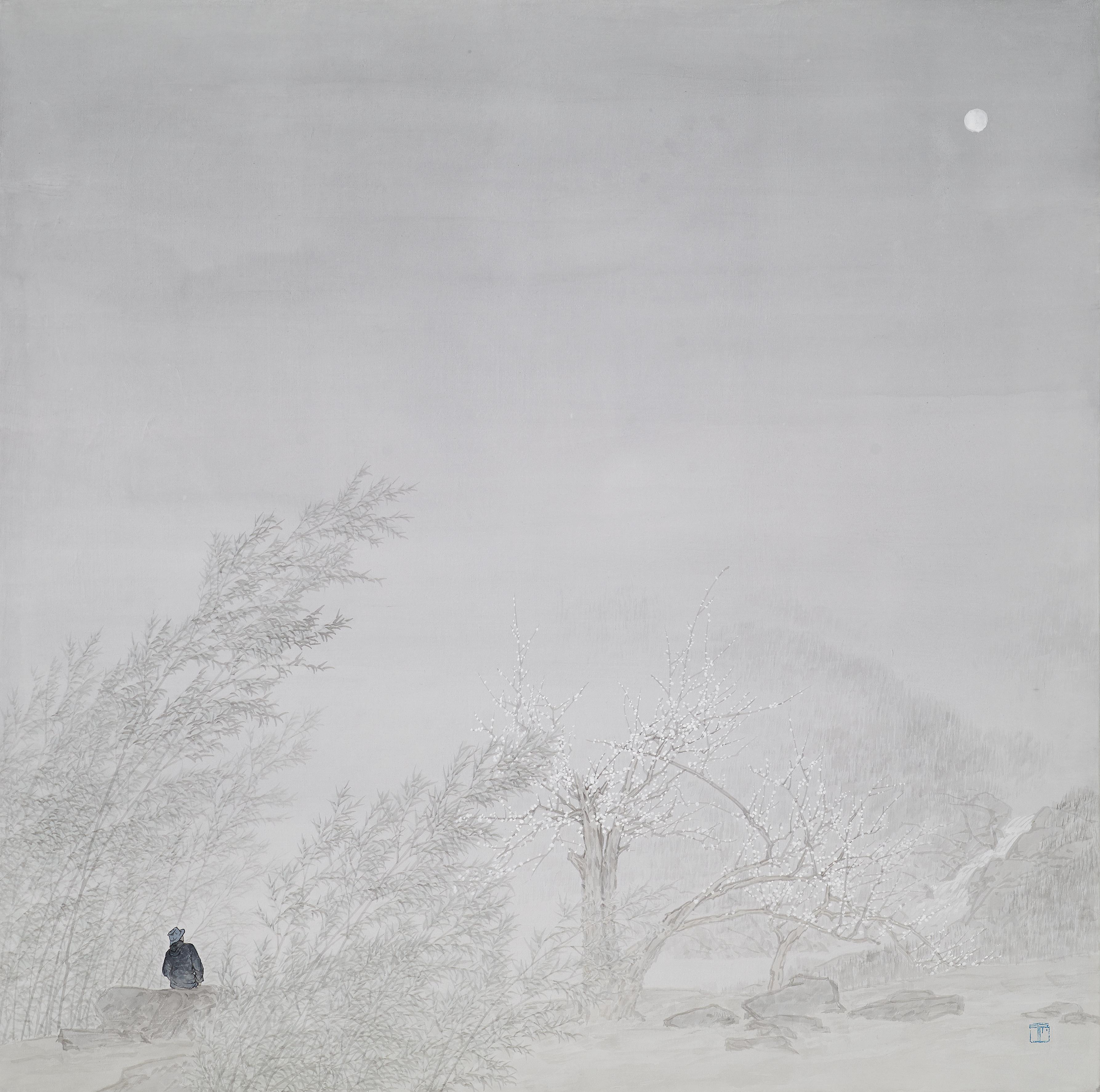 임태규 흐린 풍경-月下探梅 80X80 한지 위에 백토 수묵담채 2017(