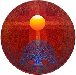 Sunrise - Faith,  Hope  and  Love, 70x70cm,  Acrylic , mixture  on  Wood, 2017