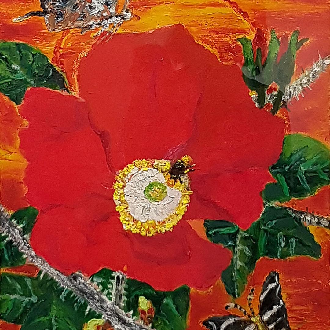 012, 민해정수, 해당화, 37.9 x 45.5 cm, 캔버스에 유화,