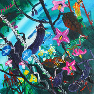 016 민해정수, 가지꽃, 31.8 x 31.8 cm, acrylic o