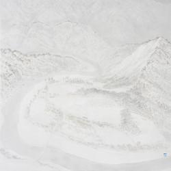 016, 임태규, 흐린풍경-동강, 102 x 120 cm, 한지 위에 백