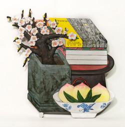 001, 이지숙, 매화가 있는 방-시인의 집, 34 x 36 x 3 cm