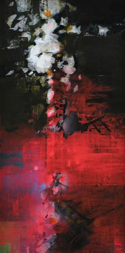 연상록5, 꽃피는 봄이 오면-꽃비, 70 x 35 cm (14호변형),