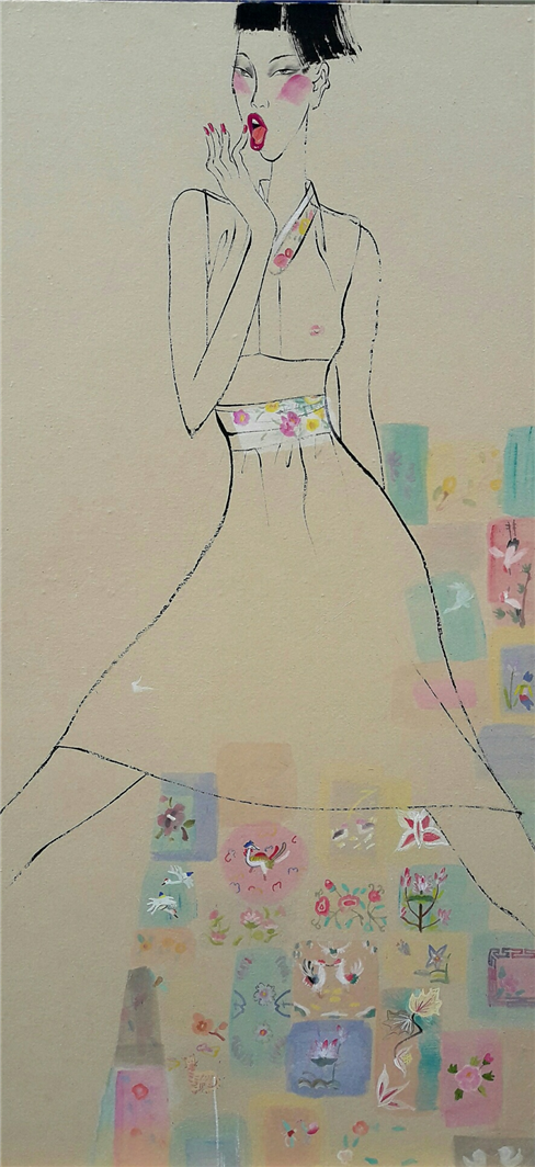 최경자, 베갯송사, 122.5x58cm, 한지위에혼합재료, 2017