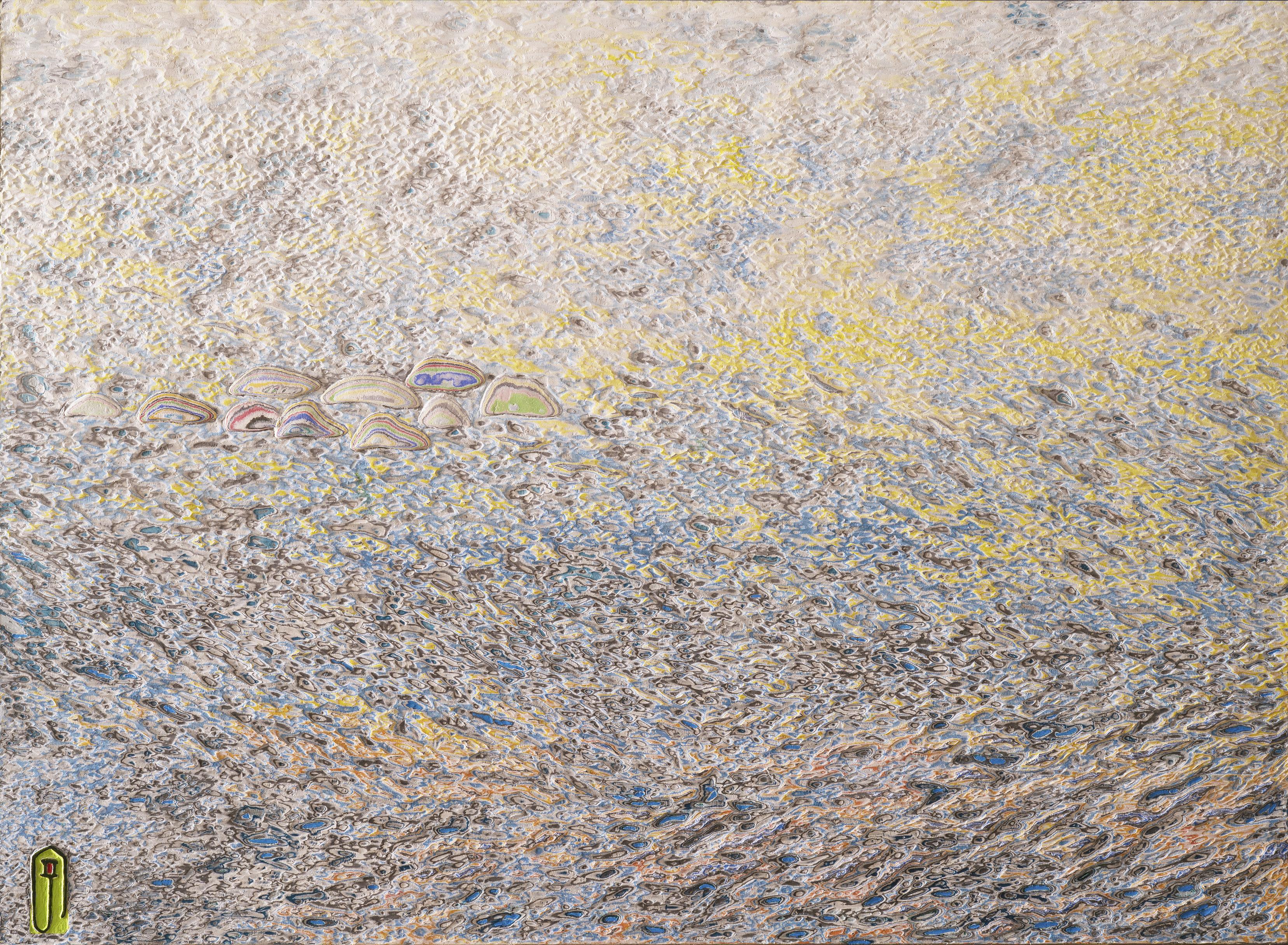 003, 김재신, 바다, 53 x 73 cm(20호), 나무판 위 색조각