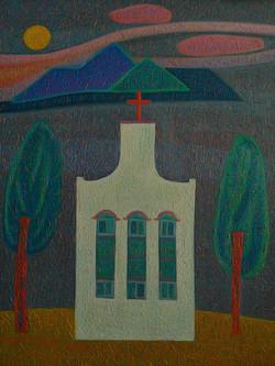 차명주2, 시골 교회, 45.5 x 37