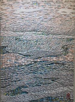 001, 김재신, 바다, 53 x 73 cm (20호), 나무판 위에 색