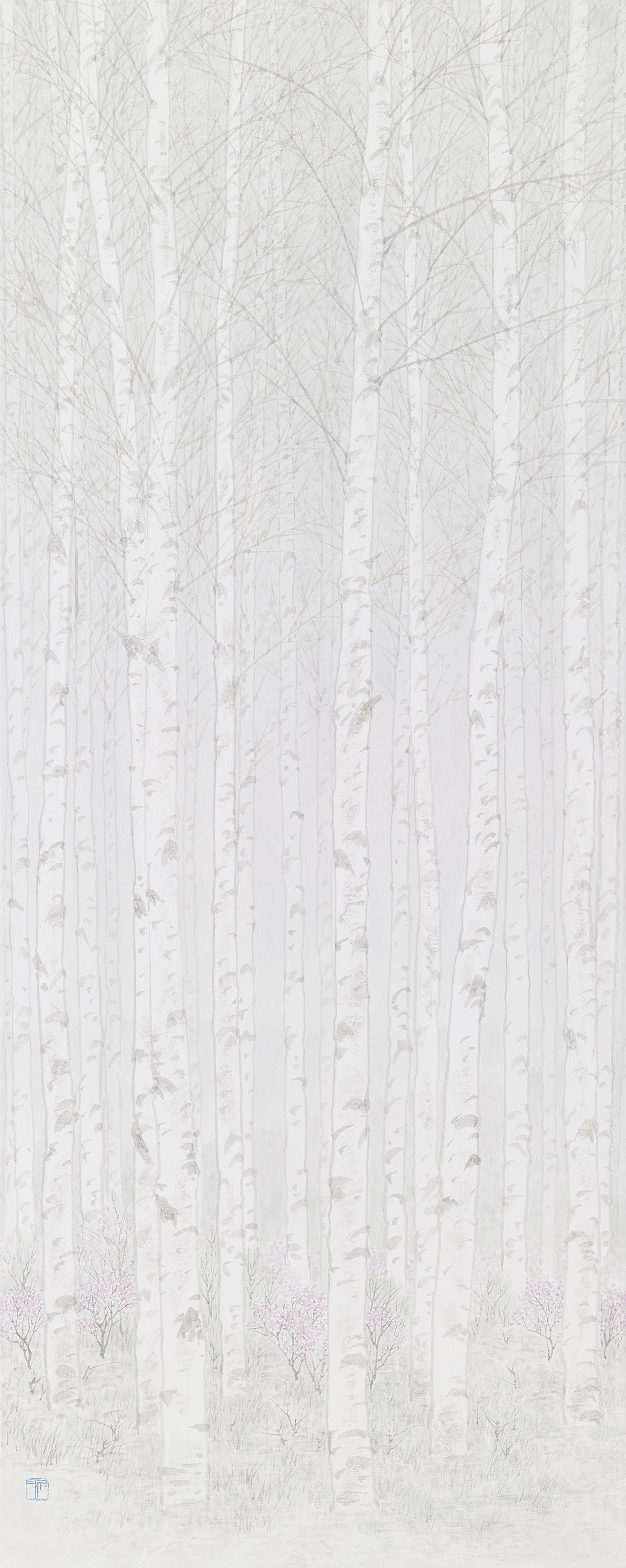 임태규 흐린 풍경-자작나무 아래 1 33X90 한지 위에 백토 수묵담채
