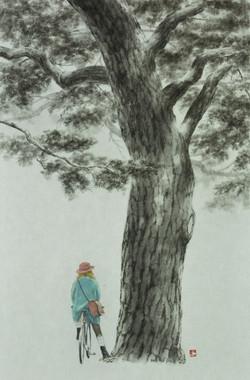 송승호2, 하교길, 35.2 x 53.0 cm, 한지에 수묵, 2020.
