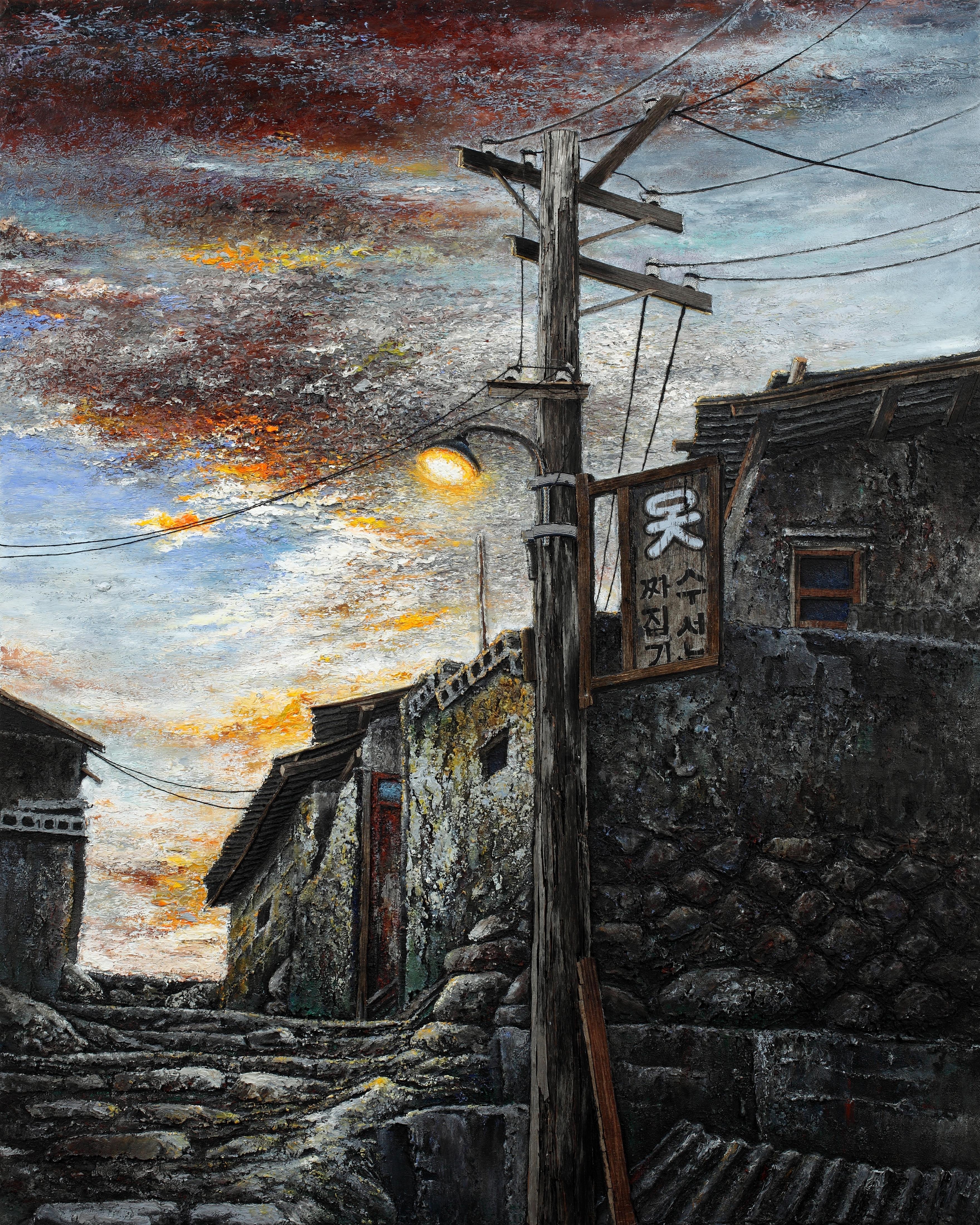 2-1. 나무전봇대, 80x100cm, mixed media oldwood on canvas, 2011