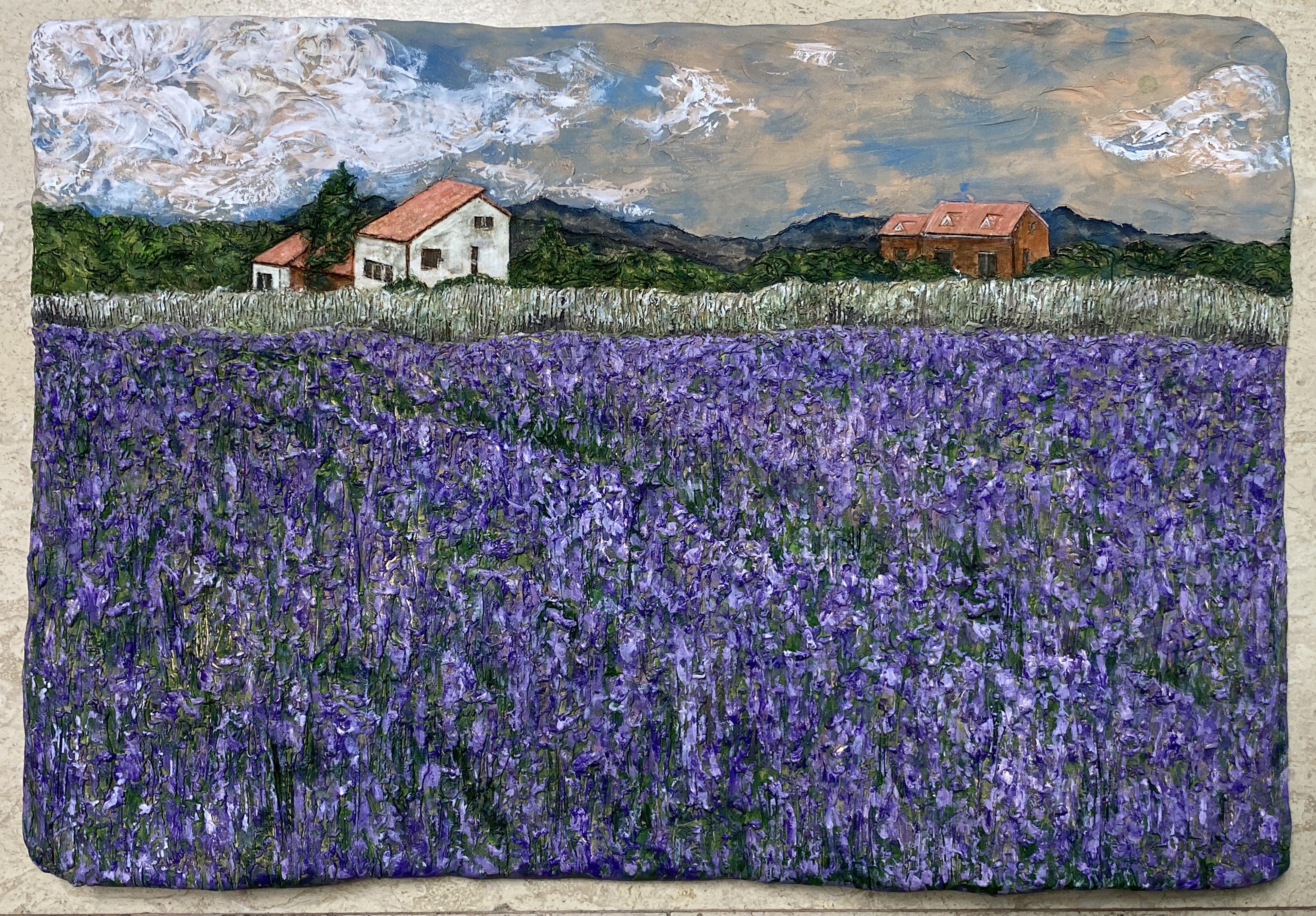 이지숙2, 찰나- 꽃대마을2, 54 x 36 x 5 cm, 테라코타 위에