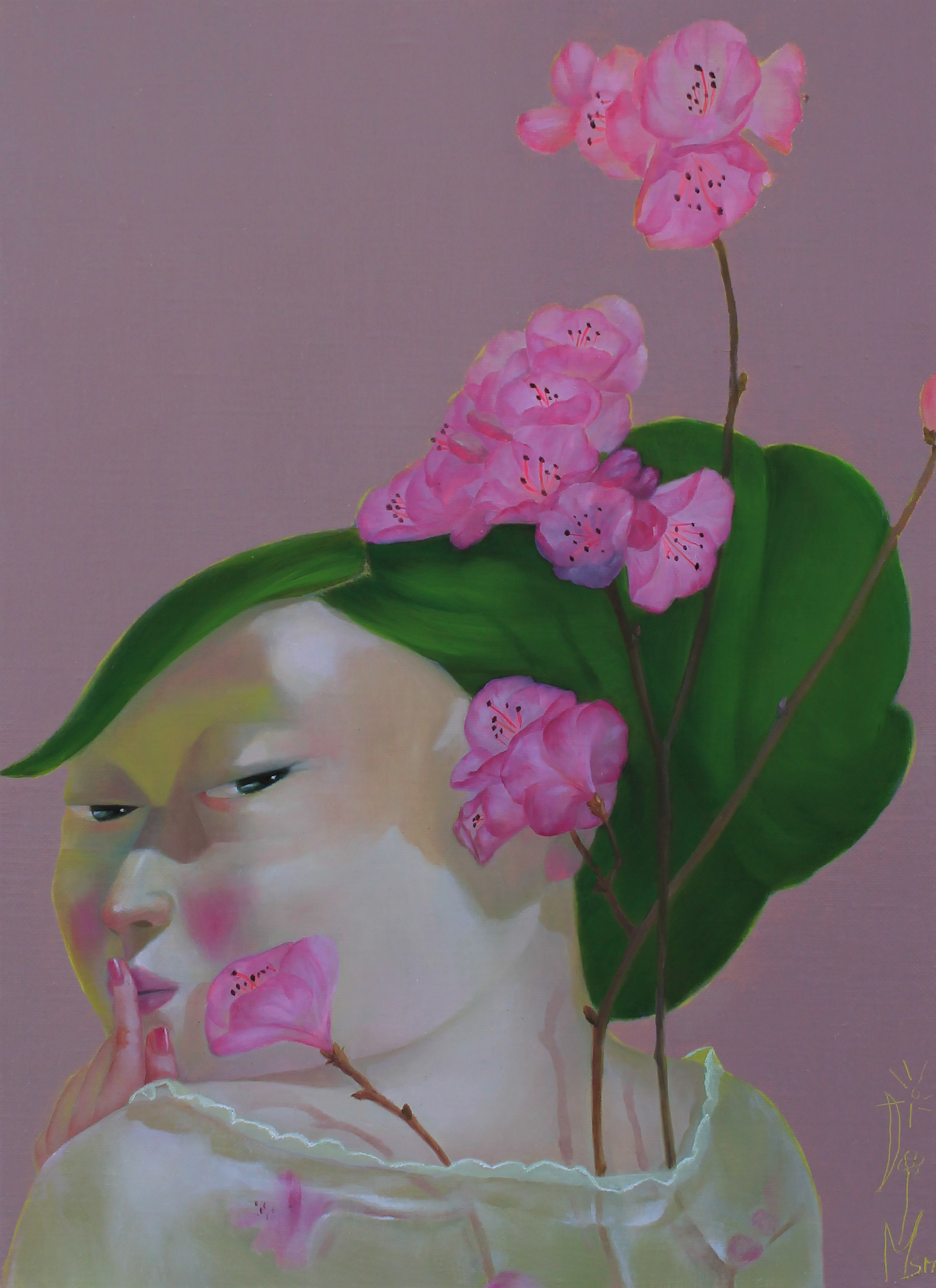 문선미2, 그녀의 정원-진달래, 37.9 x 45