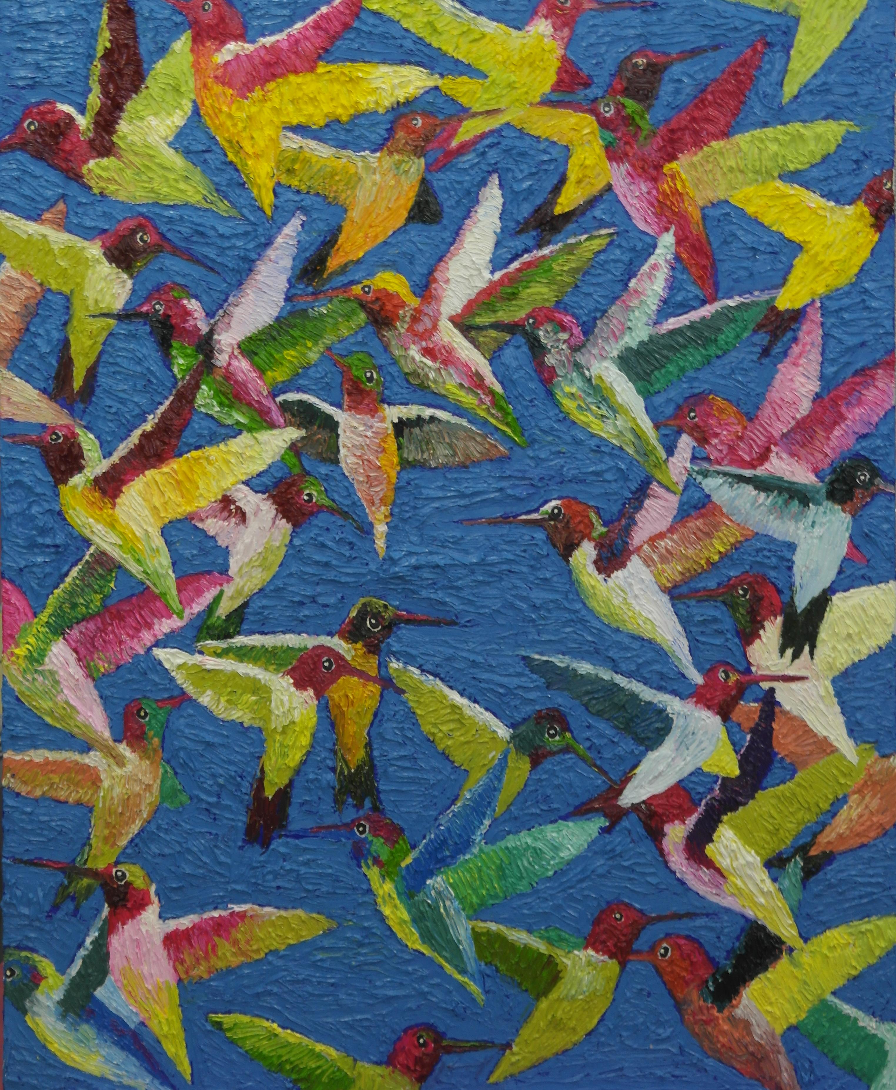 김인3, humminglife3, 50 x 65 cm, oil on ca