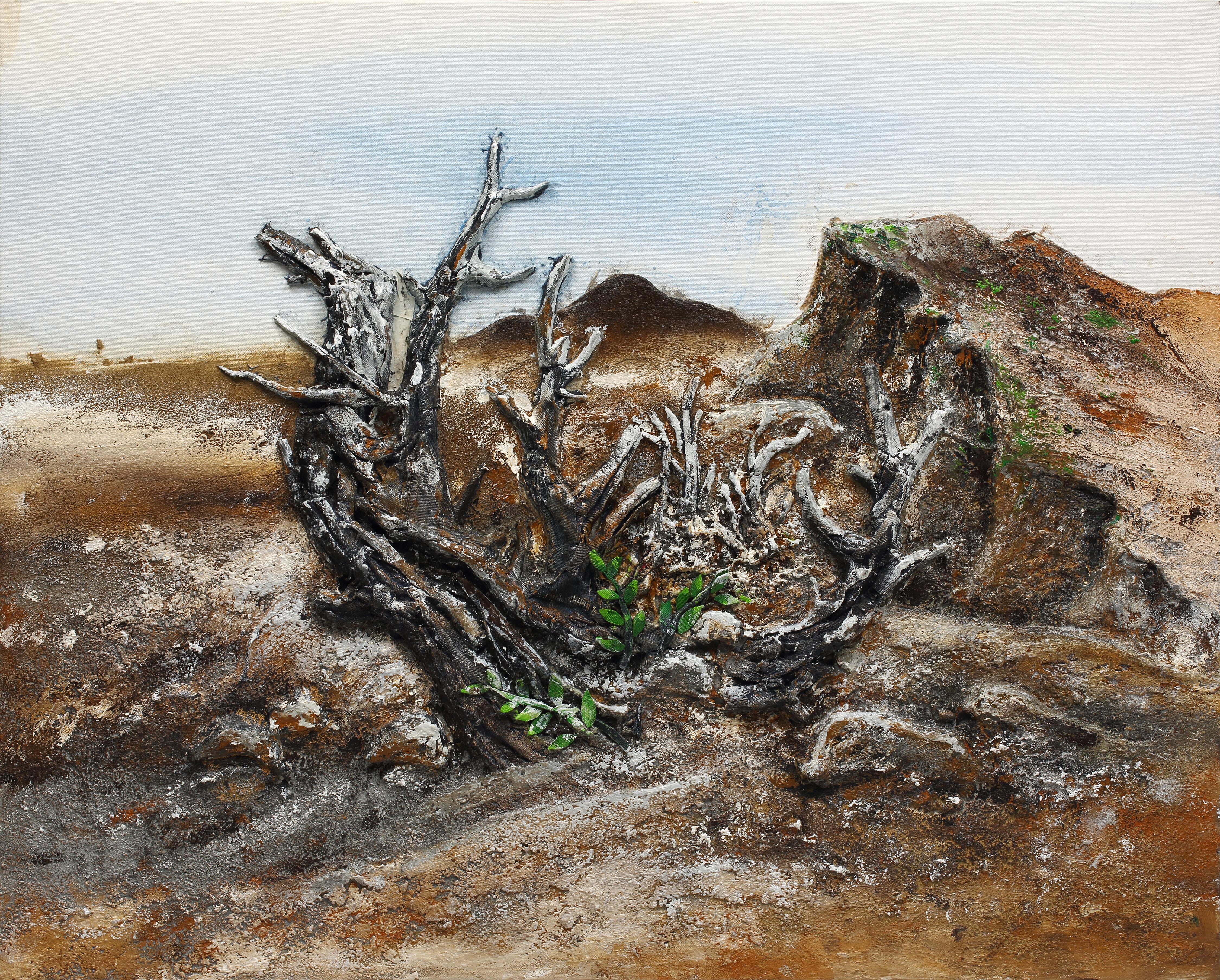 16. 희망, 91x73cm, 캔버스에 흙, 실, 청바지, 2016
