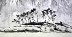 속초에서, 102x55cm, 화선지에 수묵, 2017