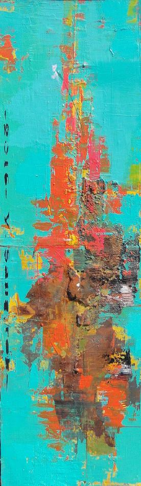적벽강의 서정, 27x92cm, Acrylic on oil, 2016(3)