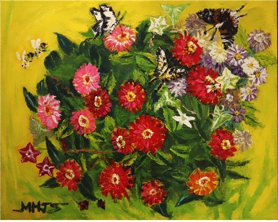 (민해정수 3) _ 백일홍과 무당벌레, 72.7x60.6cm, oil on canvas, 2017